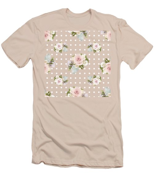Blush Pink Floral Rose Cluster W Dot Bedding Home Decor Art Men's T-Shirt (Slim Fit) by Audrey Jeanne Roberts