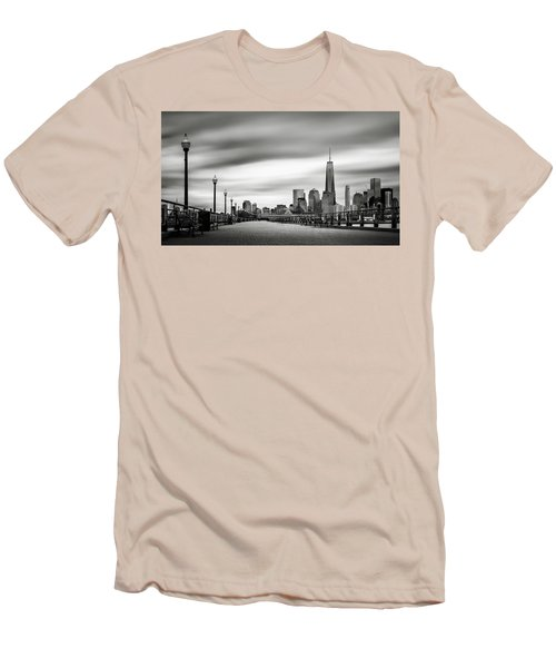 Men's T-Shirt (Slim Fit) featuring the photograph Boardwalk Into The City by Eduard Moldoveanu