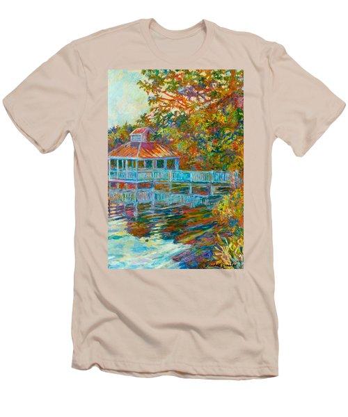 Boathouse At Mountain Lake Men's T-Shirt (Slim Fit) by Kendall Kessler