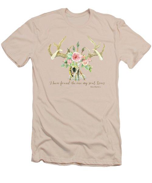 Boho Love - Deer Antlers Floral Inspirational Men's T-Shirt (Athletic Fit)