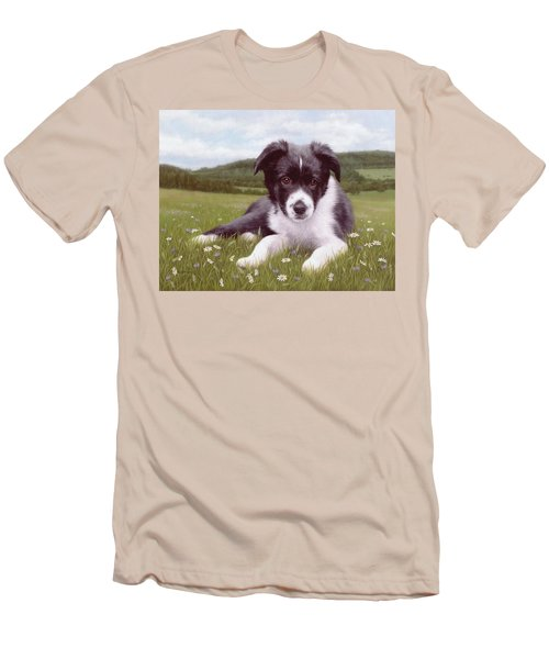 Border Collie Puppy Painting Men's T-Shirt (Slim Fit) by Rachel Stribbling