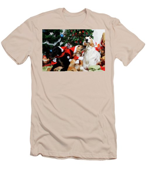 Borzoi Hounds Dressed As Father Christmas Men's T-Shirt (Slim Fit) by Christian Lagereek