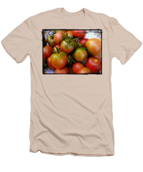 Bowl Of Heirloom Tomatoes Men's T-Shirt (Slim Fit) by Kathy Barney