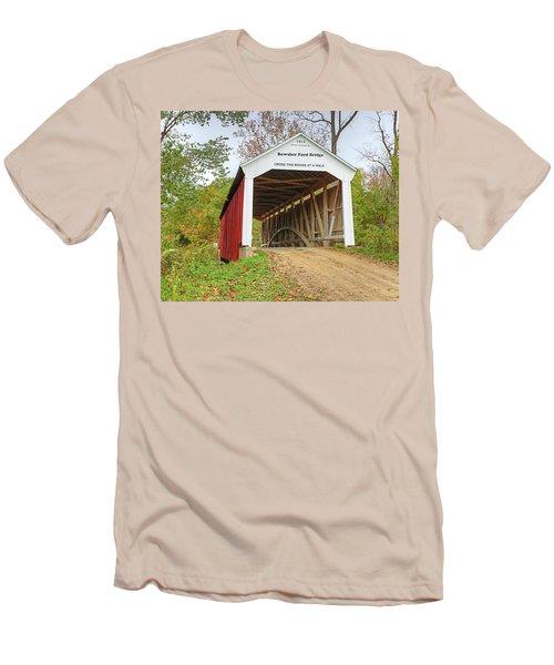 Bowser Ford Covered Bridge Men's T-Shirt (Slim Fit) by Harold Rau