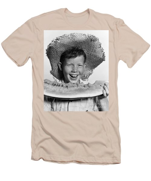 Boy Eating Watermelon, C.1940-50s Men's T-Shirt (Slim Fit) by H. Armstrong Roberts/ClassicStock