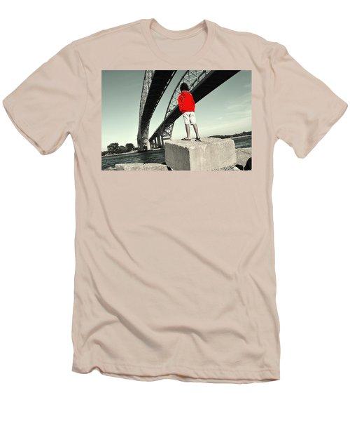 Boy Under Bridge Men's T-Shirt (Athletic Fit)