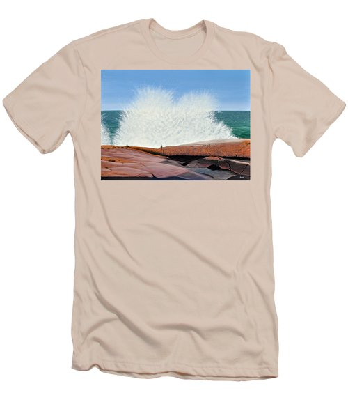 Men's T-Shirt (Slim Fit) featuring the painting Breakers On Georgian Bay by Kenneth M  Kirsch