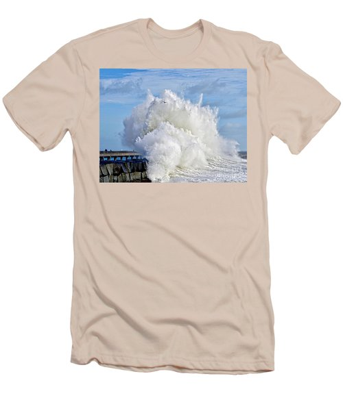 Breakwater Explosion Men's T-Shirt (Slim Fit) by Michael Cinnamond