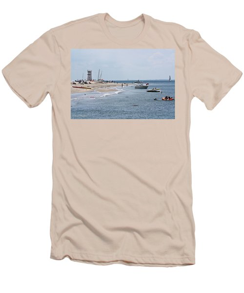 Breezy Point Lighthouse Men's T-Shirt (Slim Fit) by Ann Murphy
