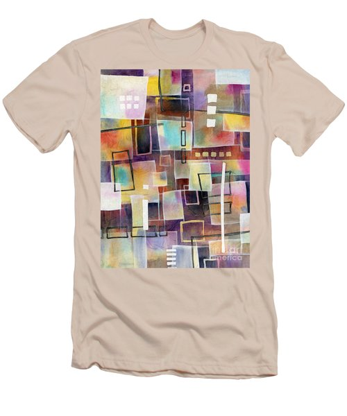 Men's T-Shirt (Slim Fit) featuring the painting Bridging Gaps 2 by Hailey E Herrera