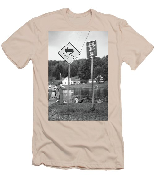 Men's T-Shirt (Slim Fit) featuring the photograph Brookfield, Vt - Floating Bridge 2 Bw by Frank Romeo