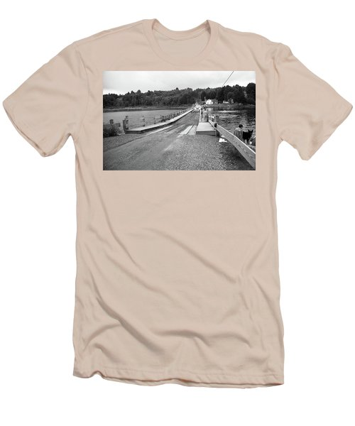 Men's T-Shirt (Slim Fit) featuring the photograph Brookfield, Vt - Floating Bridge 5 Bw by Frank Romeo