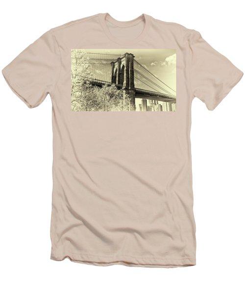 Men's T-Shirt (Slim Fit) featuring the photograph Brooklyn Bridge by John Hoey