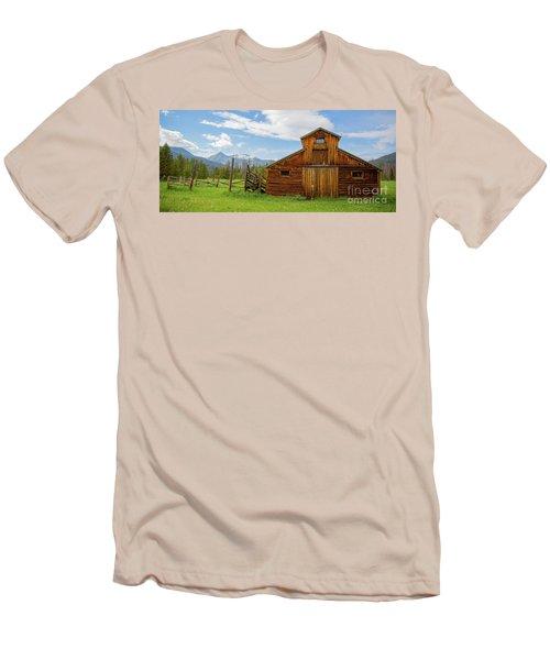 Buckaroo Barn In Rocky Mtn National Park Men's T-Shirt (Slim Fit) by John Roberts