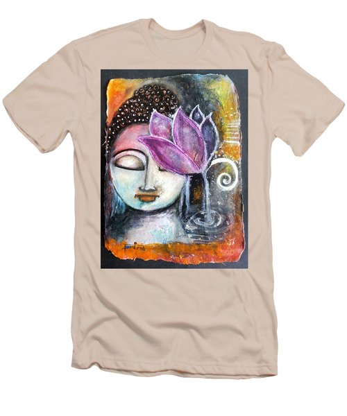 Men's T-Shirt (Slim Fit) featuring the mixed media Buddha With Torn Edge Paper Look by Prerna Poojara