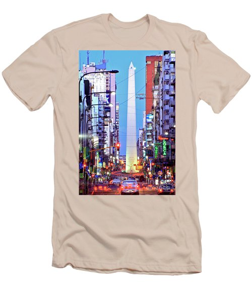 Buenos Aires Obelisk Men's T-Shirt (Slim Fit) by Bernardo Galmarini