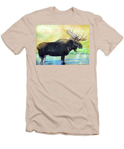Bull Moose In Mid Stream Men's T-Shirt (Slim Fit) by Sherril Porter