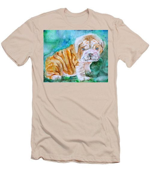 Men's T-Shirt (Slim Fit) featuring the painting Bulldog Cub  - Watercolor Portrait by Fabrizio Cassetta