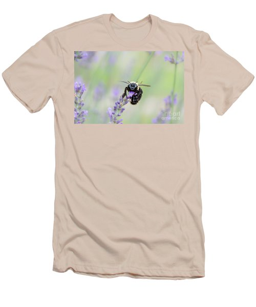 Men's T-Shirt (Athletic Fit) featuring the photograph Bumblebee On The Lavender Field by Andrea Anderegg
