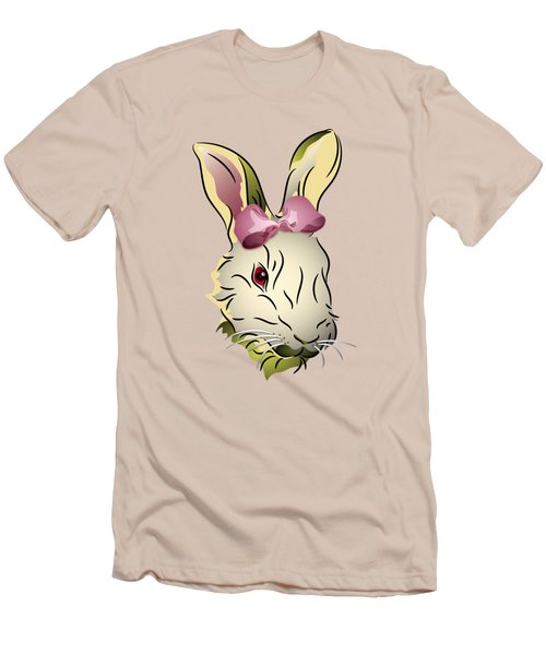 Bunny Rabbit With A Pink Bow Men's T-Shirt (Slim Fit) by MM Anderson
