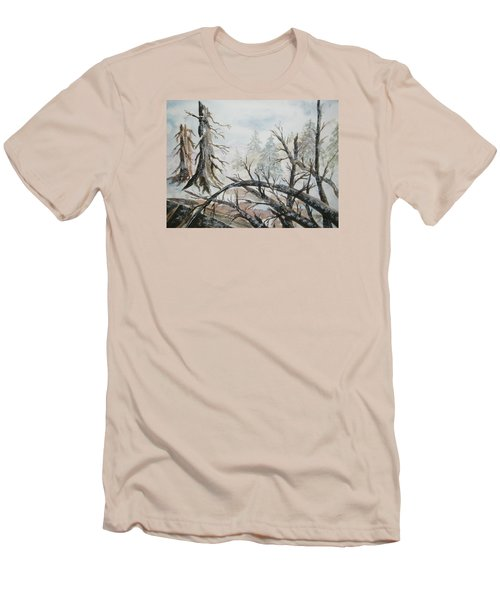 Men's T-Shirt (Slim Fit) featuring the painting Burned Forest In The Snow by Ellen Levinson