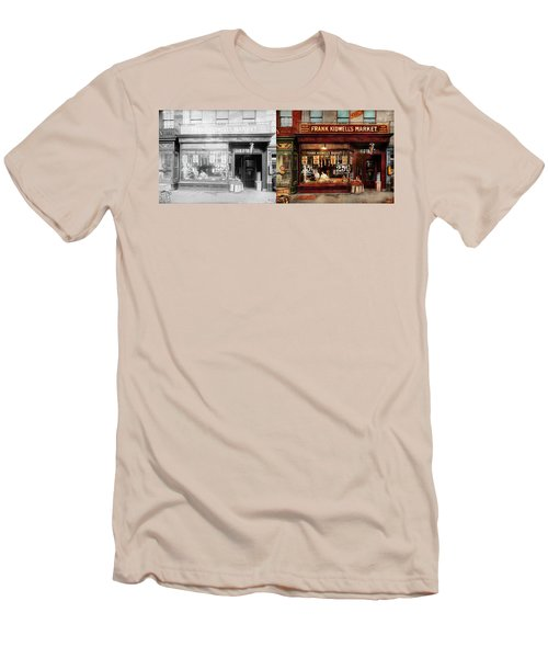 Men's T-Shirt (Slim Fit) featuring the photograph Butcher - Meat Priced Right 1916 - Side By Side by Mike Savad