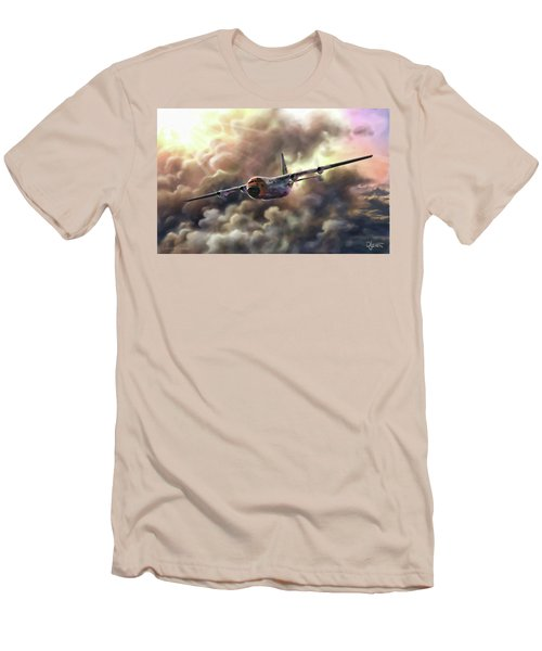 Men's T-Shirt (Slim Fit) featuring the painting C-130 Hercules by Dave Luebbert
