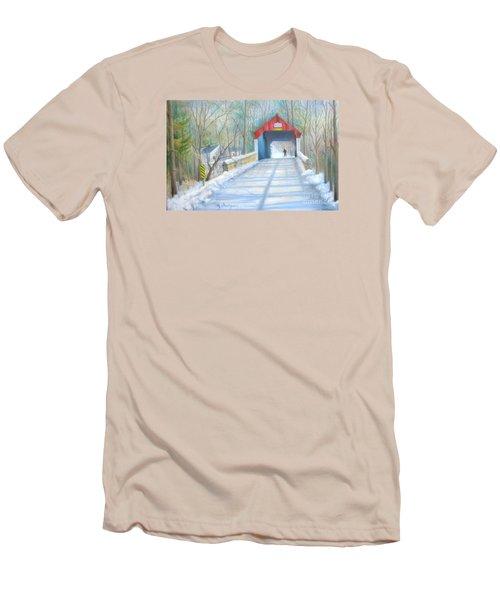 Cabin Run Bridge In Winter Men's T-Shirt (Slim Fit) by Oz Freedgood