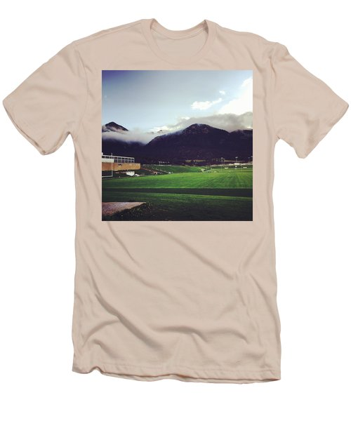 Men's T-Shirt (Slim Fit) featuring the photograph Cadet Athletic Fields by Christin Brodie