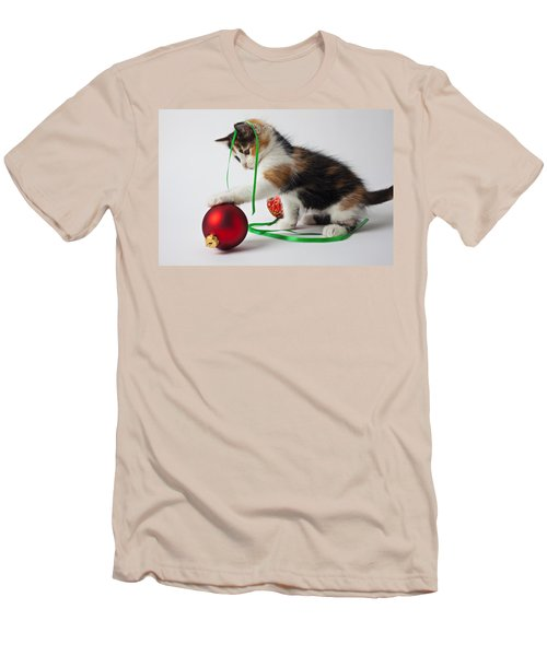 Calico Kitten And Christmas Ornaments Men's T-Shirt (Slim Fit) by Garry Gay