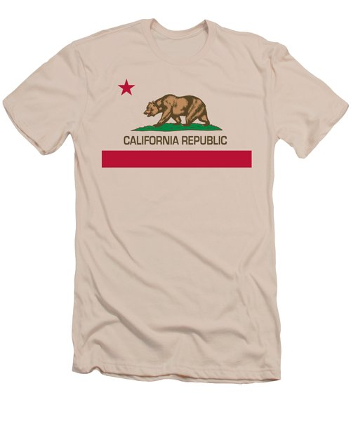 California Republic State Flag Authentic Version Men's T-Shirt (Slim Fit)