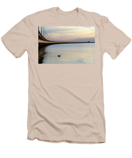 Men's T-Shirt (Athletic Fit) featuring the photograph Calm Evening By The Bridge by Kennerth and Birgitta Kullman