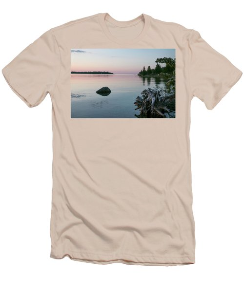 Calm Water At Lake Huron Crystal Point Men's T-Shirt (Slim Fit) by Kelly Hazel