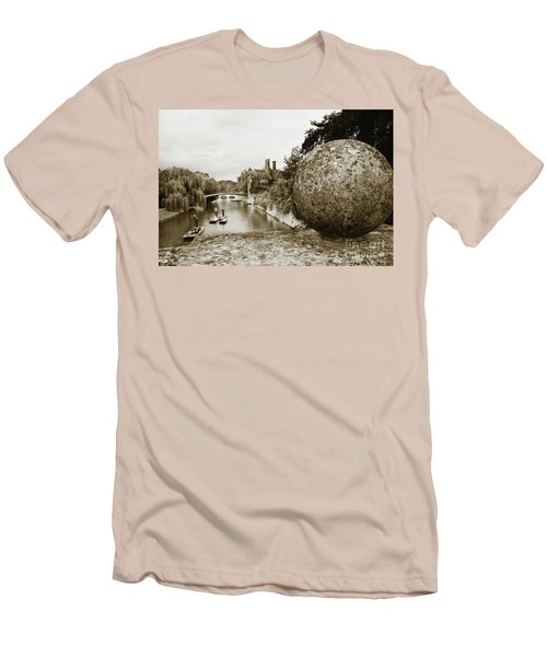 Men's T-Shirt (Slim Fit) featuring the photograph Cambridge Punting Sepia by Eden Baed