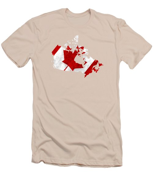 Canada Map Art With Flag Design Men's T-Shirt (Athletic Fit)