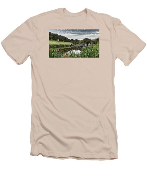 Men's T-Shirt (Slim Fit) featuring the photograph Canal Boats by RKAB Works