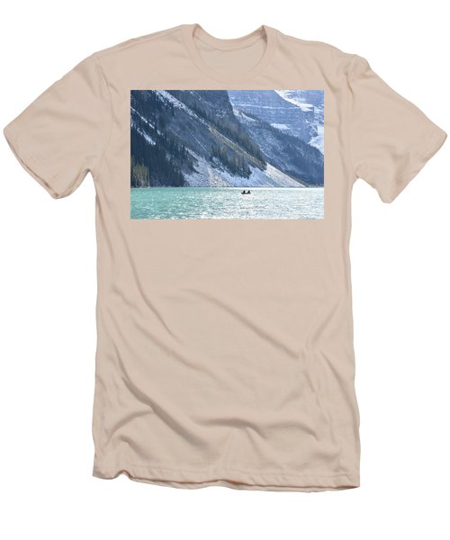 Canoeing On Lake Louise Men's T-Shirt (Slim Fit) by Keith Boone