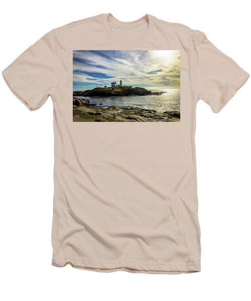 Cape Neddick Lighthouse Men's T-Shirt (Slim Fit) by Sherman Perry