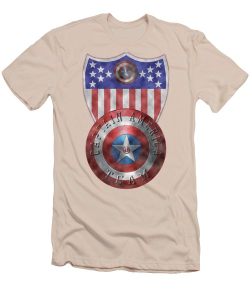 Captain America Shields On Gold  Men's T-Shirt (Slim Fit) by Georgeta Blanaru