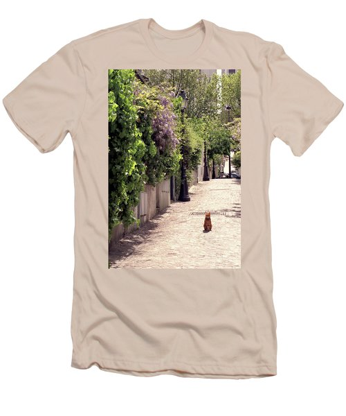 Cat On Cobblestone Men's T-Shirt (Athletic Fit)