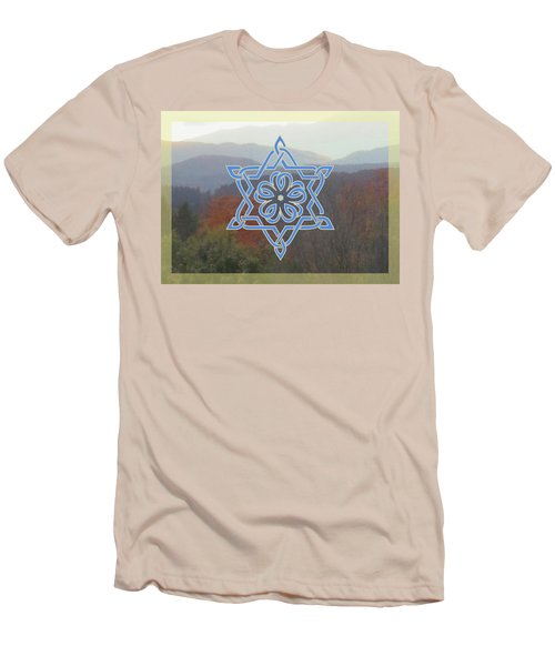Celtic Hexagram Rose In Blue Men's T-Shirt (Athletic Fit)