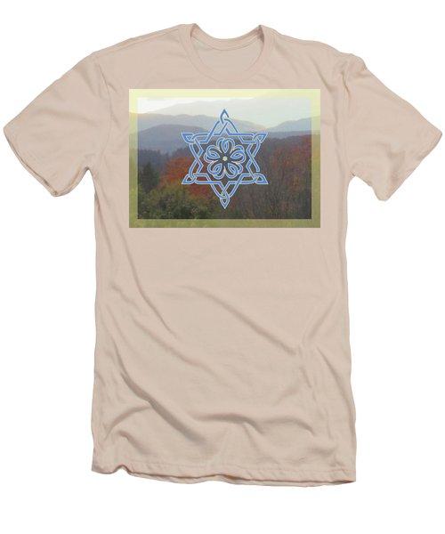 Celtic Hexagram Rose In Blue Men's T-Shirt (Athletic Fit)