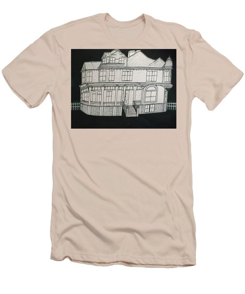 Men's T-Shirt (Slim Fit) featuring the drawing Charles A. Spies Historical Menominee Home. by Jonathon Hansen