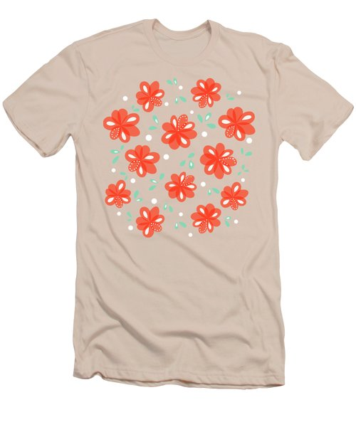 Cheerful Red Flowers Men's T-Shirt (Athletic Fit)