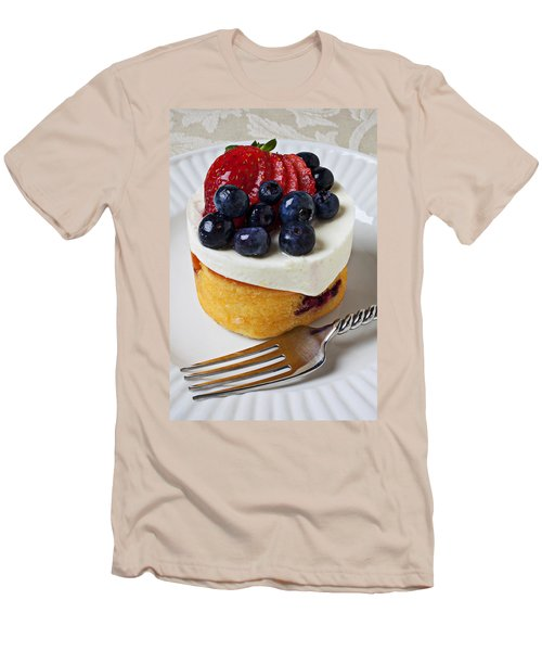 Cheese Cream Cake With Fruit Men's T-Shirt (Slim Fit) by Garry Gay