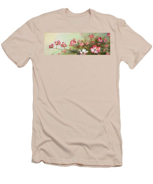 Men's T-Shirt (Athletic Fit) featuring the painting Cherokee Dogwood - Brave- Blushing by Jan Dappen