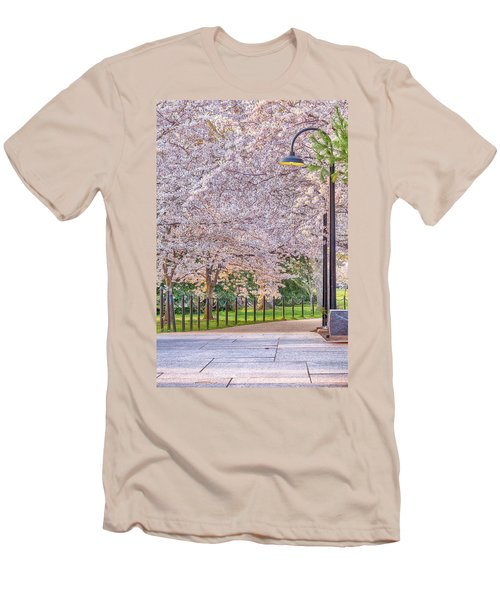 Cherry Morning Path Men's T-Shirt (Slim Fit) by David Cote