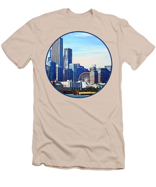 Chicago Il - Chicago Skyline And Navy Pier Men's T-Shirt (Slim Fit) by Susan Savad