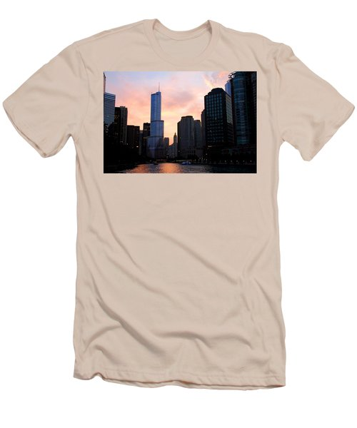 Chicago Skyline At Dusk Men's T-Shirt (Athletic Fit)