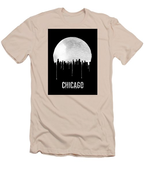 Chicago Skyline Black Men's T-Shirt (Slim Fit) by Naxart Studio